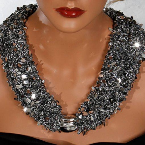 Black Sequin Silver Bead Scarf Necklace