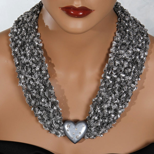 Black White Silver Heart Scarf Necklace