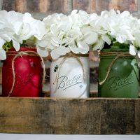 Chalk Painted Jars Centerpiece