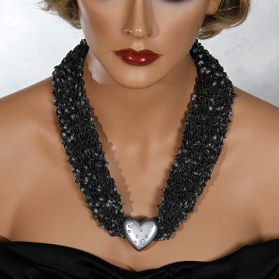Charcoal Gray Silver Heart Scarf Necklace