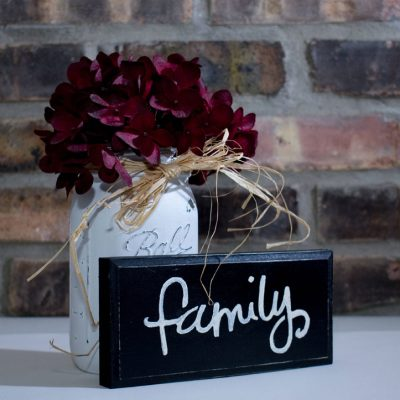 Black Rustic Shabby Chic Family Sign