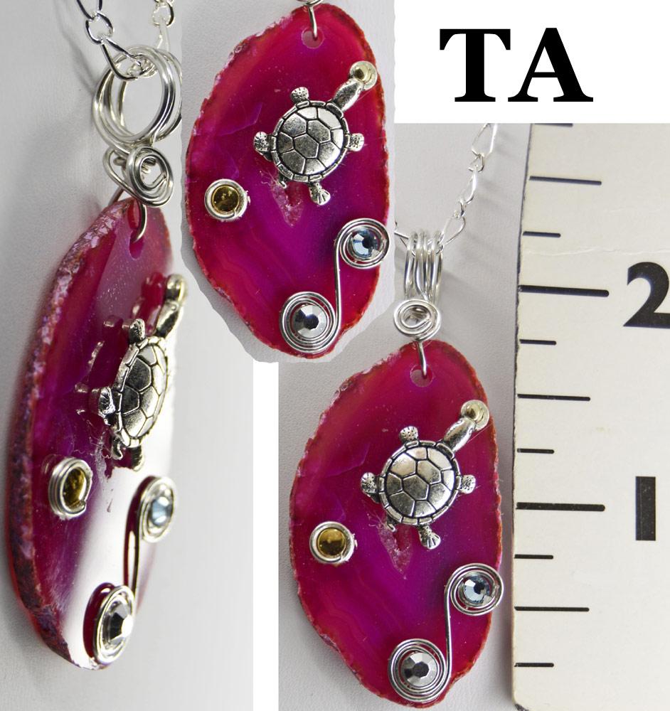 fuchsia agate turtle necklace