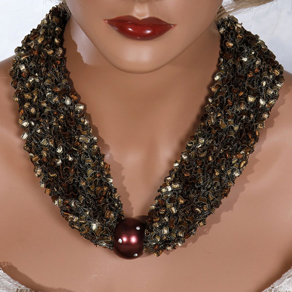 Gold Brown Bead Scarf Necklace