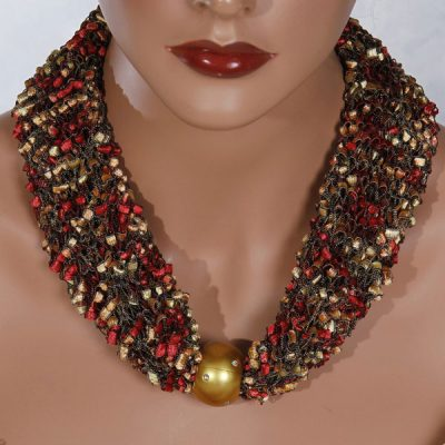 Red Gold Bead Scarf Necklace