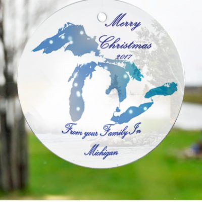 Glass Michigan Great Lakes Suncatchers Ornaments