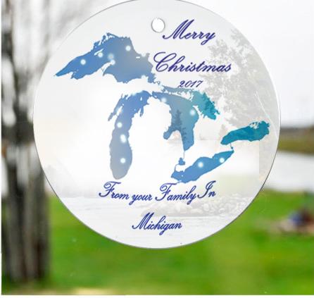 Glass Michigan Great Lakes Suncatchers Ornaments