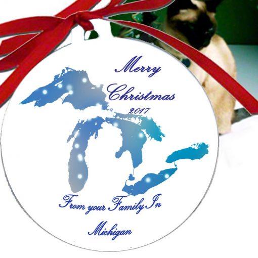 Aluminum Michigan Great Lakes Ornaments