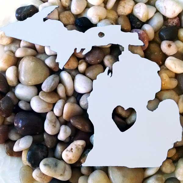 White Open Heart Michigan Ornament