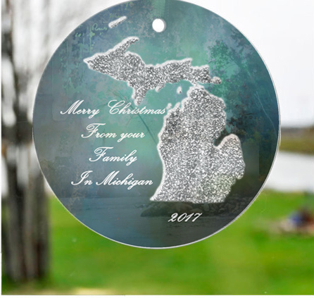 Glass Michigan Suncatchers Ornaments