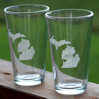 Michigan Heart Pint Glass