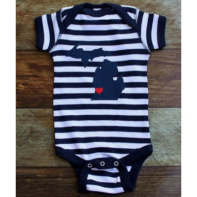 Nautical Michigan Heart Onesie