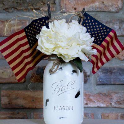 Patriotic Chalk Painted Jar
