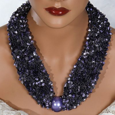 Purple Bead Scarf Necklace