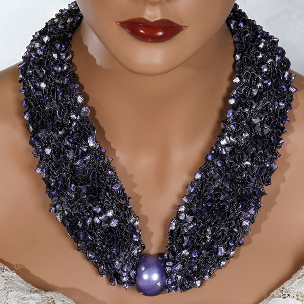 Purple Bead Scarf Necklace