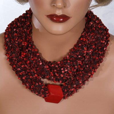 Red Bead Scarf Necklace