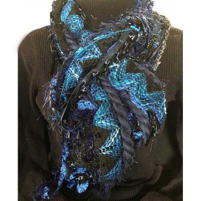 Ribbon Yarn Blue Black Scarf