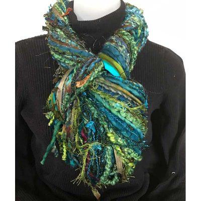 Ribbon Yarn Turquoise Olive Scarf