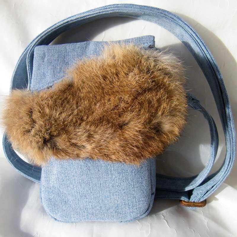 Denim Rabbit Fur Purse
