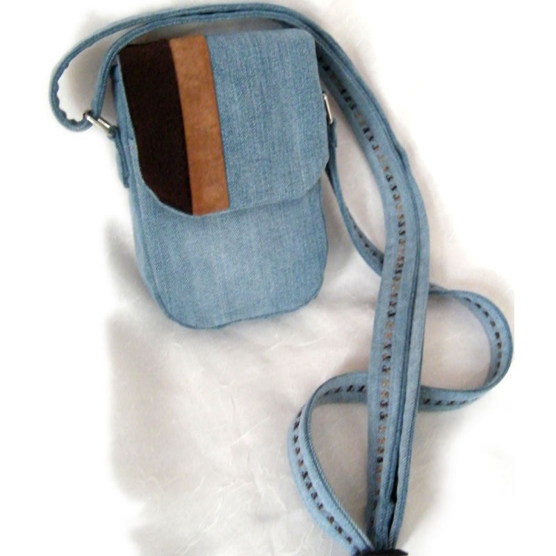 Denim Two Tone Suede Purse