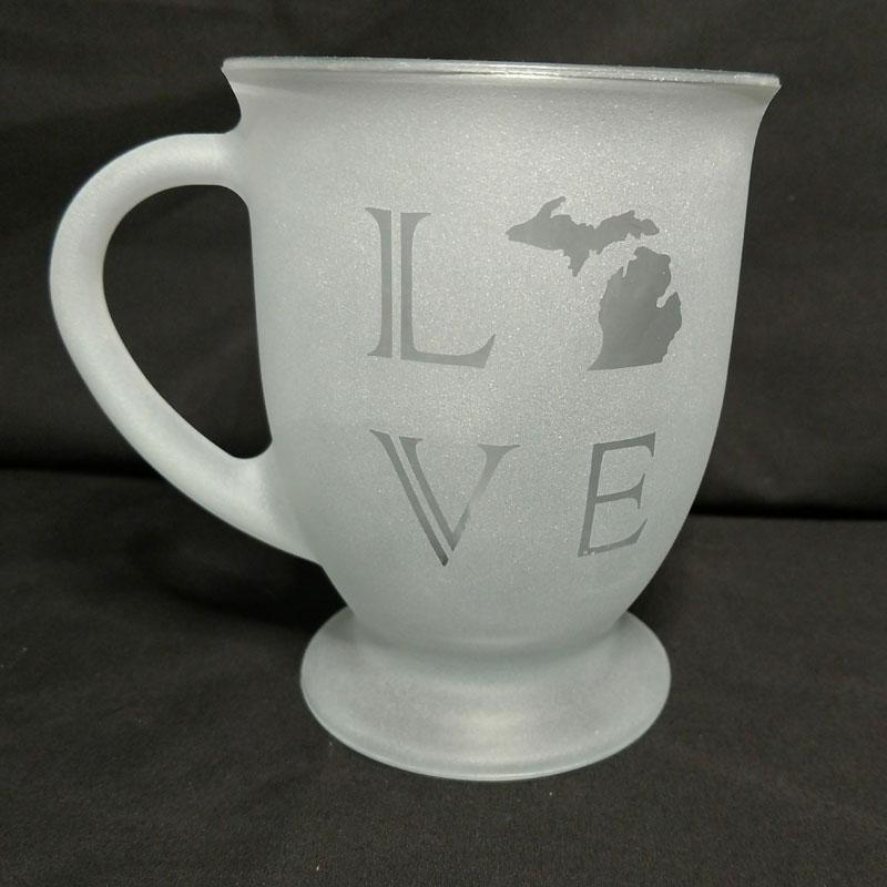 Engraved Coffee Mug LOVE Michigan