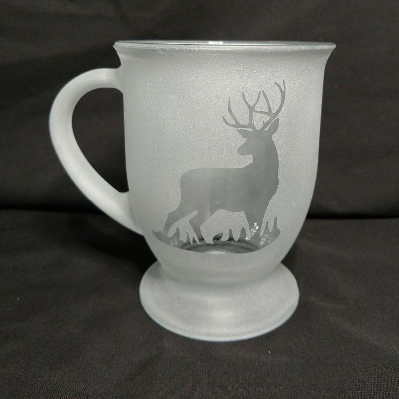 Engraved Coffee Mug Buck Grass