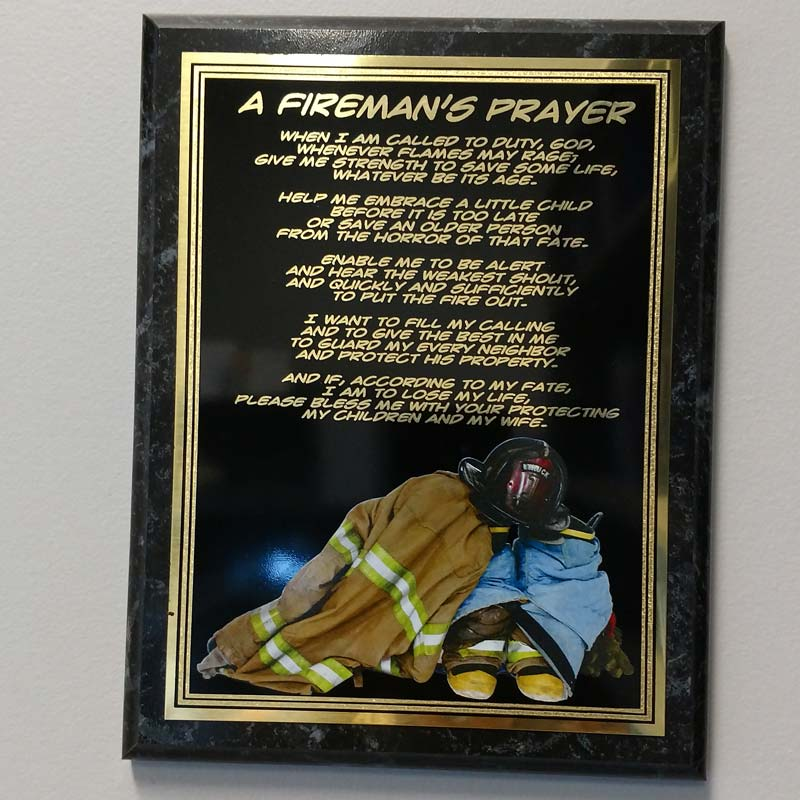 A Fireman's Prayer Engraved Plaque