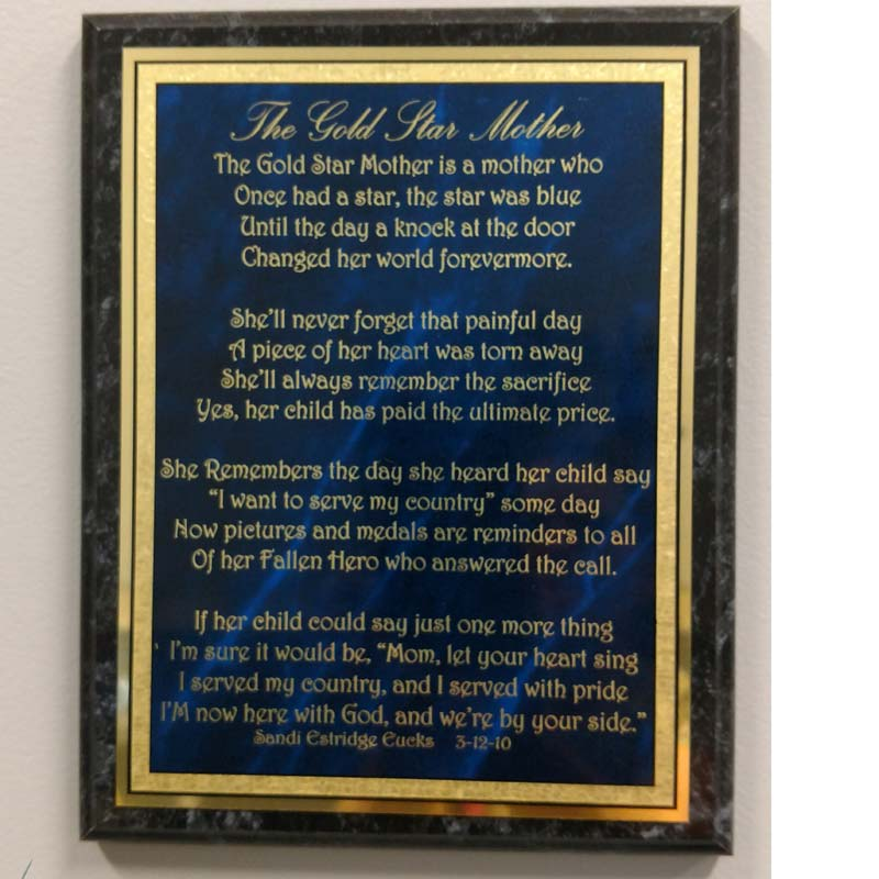The Gold Star Mother Engraved Plaque