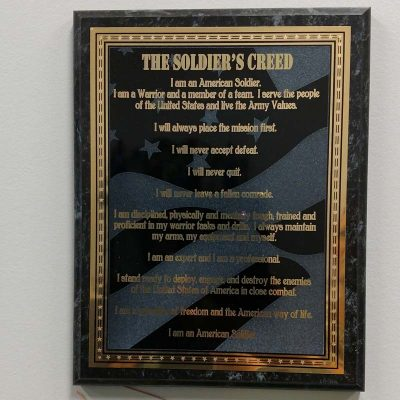 Engraved Plaque Soldiers Creed