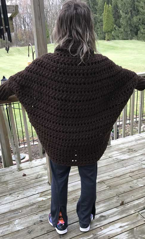 Crochet Granny Sweater Brown