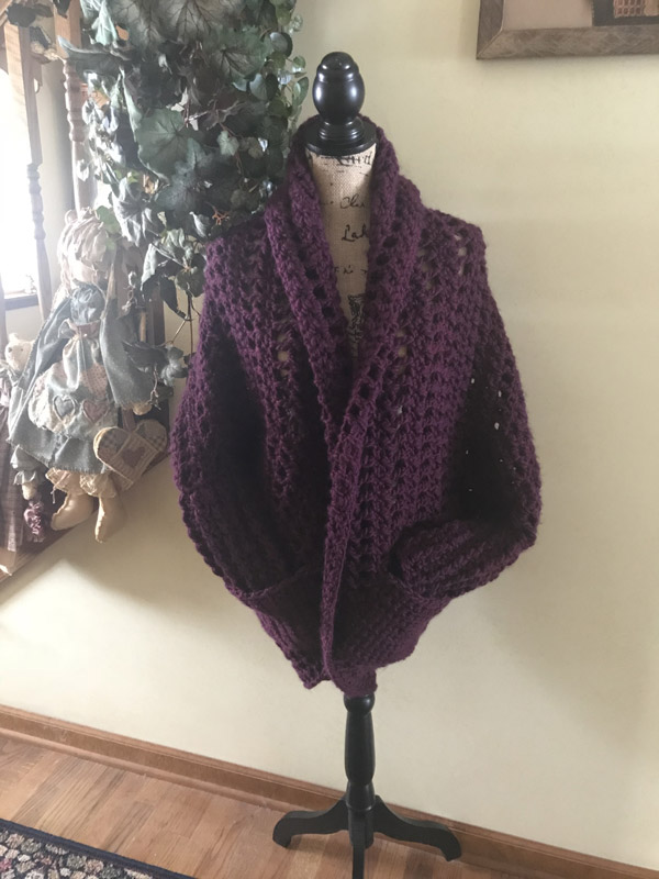 Crochet Granny Sweater Plum