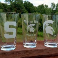 Engraved Spartan Pint Glass