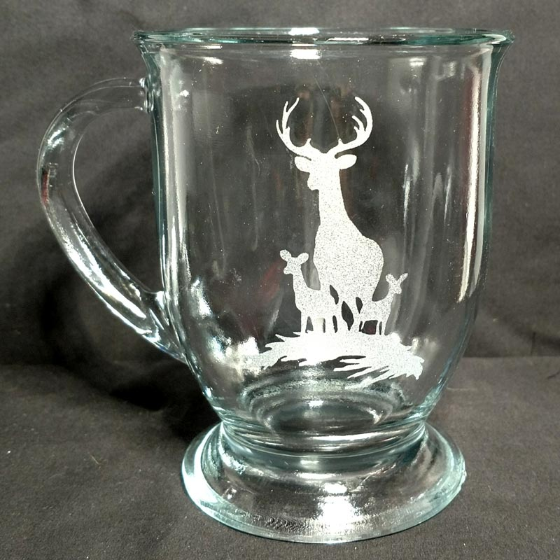 Engraved Coffee Mug Buck and Two Does