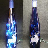 Engraved Lighted Bottle with Blue Lights Elk Design