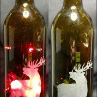Engraved Lighted Bottle Brown with Red Lights Elk Design