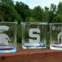 Engraved MSU Spartan Candle Holder Personalize
