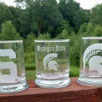 Engraved Spartan MSU Rocks Glass