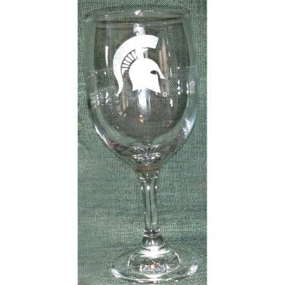 Engraved MSU Sparty Wine Glass