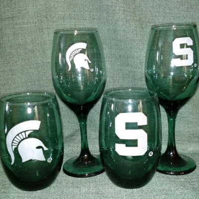 Engraved Green Sparty Wine Glass