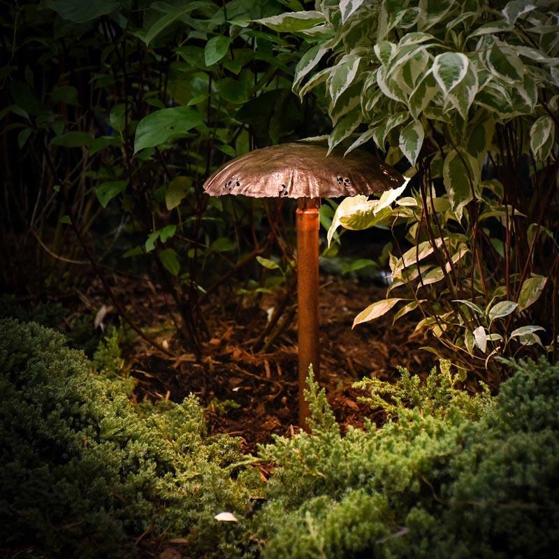 Mushroom Cap Copper LED Landscape Light