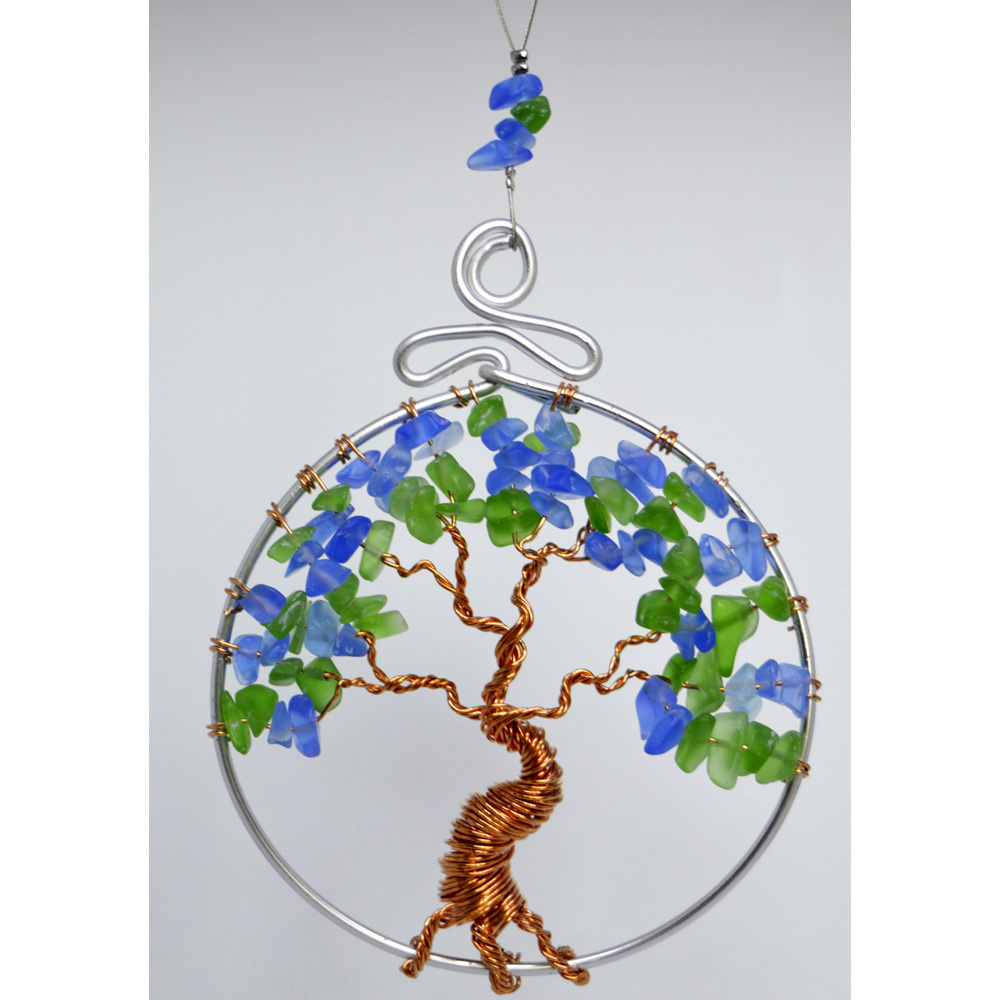 Tree of Life Suncatcher Rear View Mirror Ornament Blue Green Glass Copper Wire