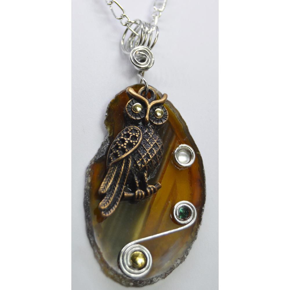 Brown Agate Slice Owl Pendant