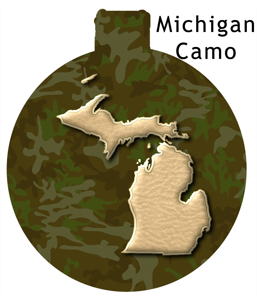 Metal Michigan Ornament - Camo with Gold Michigan