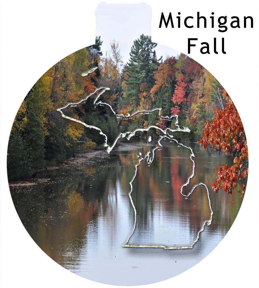 Metal Michigan Ornament - Michigan Fall