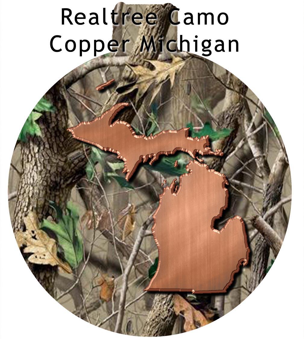 Metal Michigan Ornament - Realtree Camo with Copper Michigan