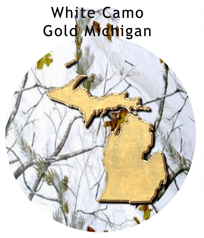 Metal Michigan Ornament - White Camo with Gold Michigan
