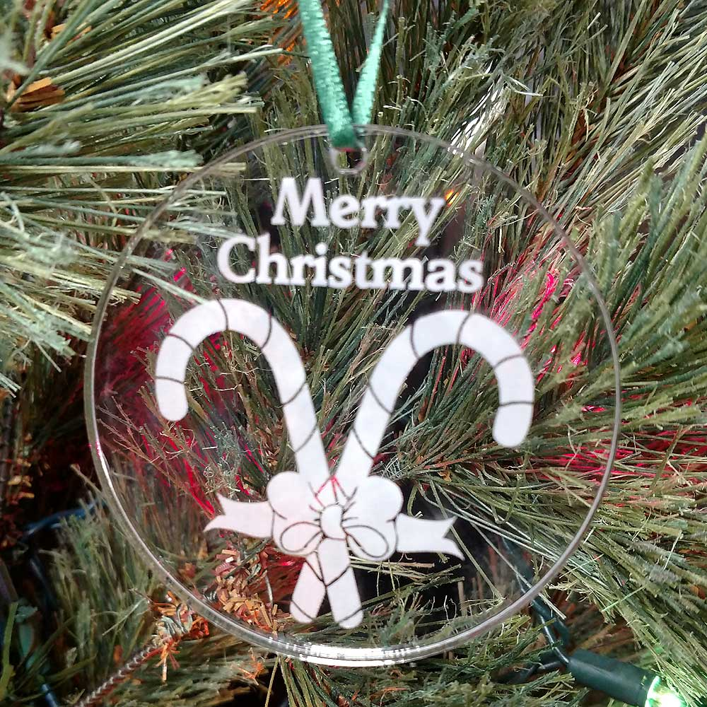 Personalized Whimsical Candy Cane Ornament Custom Engraved