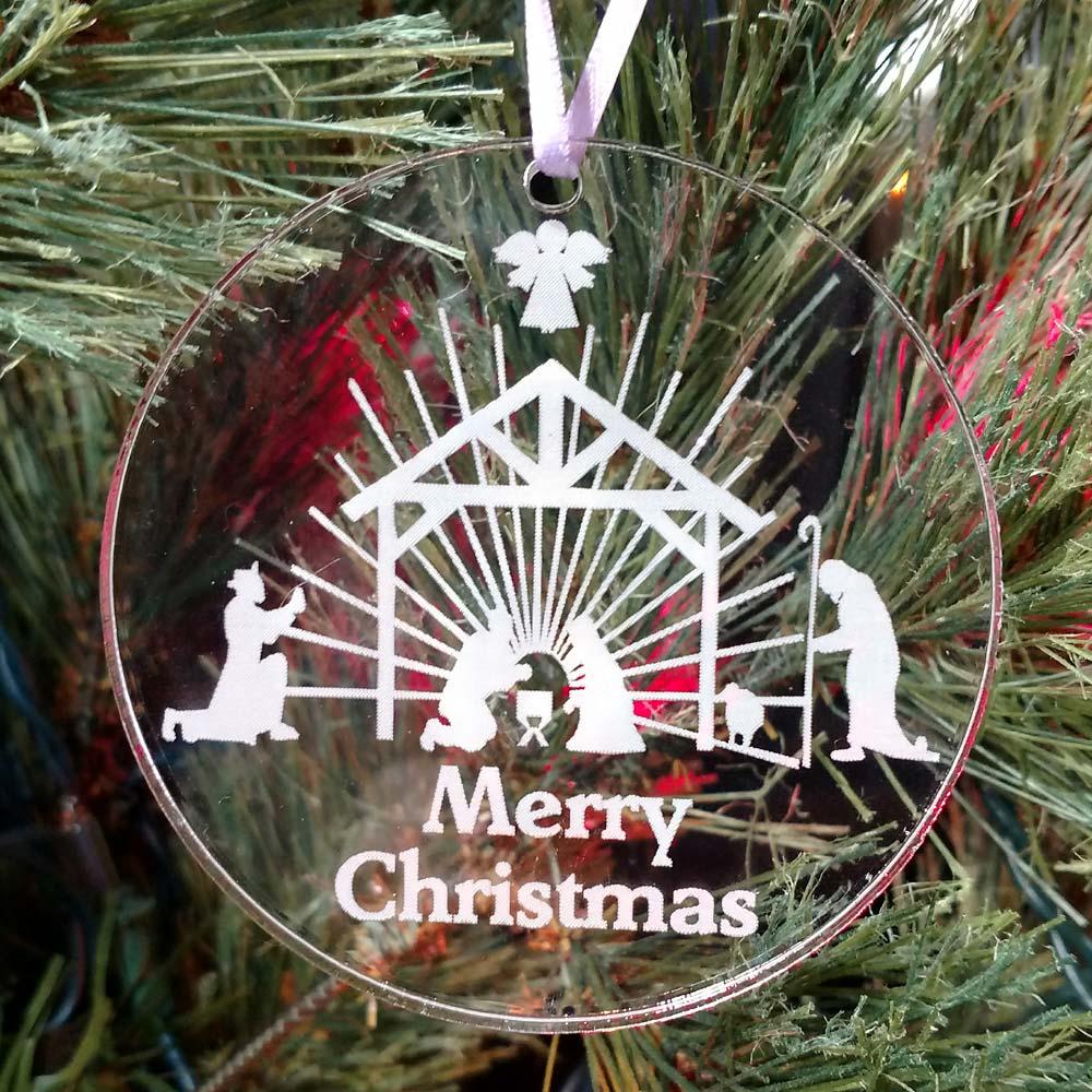 Personalized Nativity Scene Ornament Custom Engraved