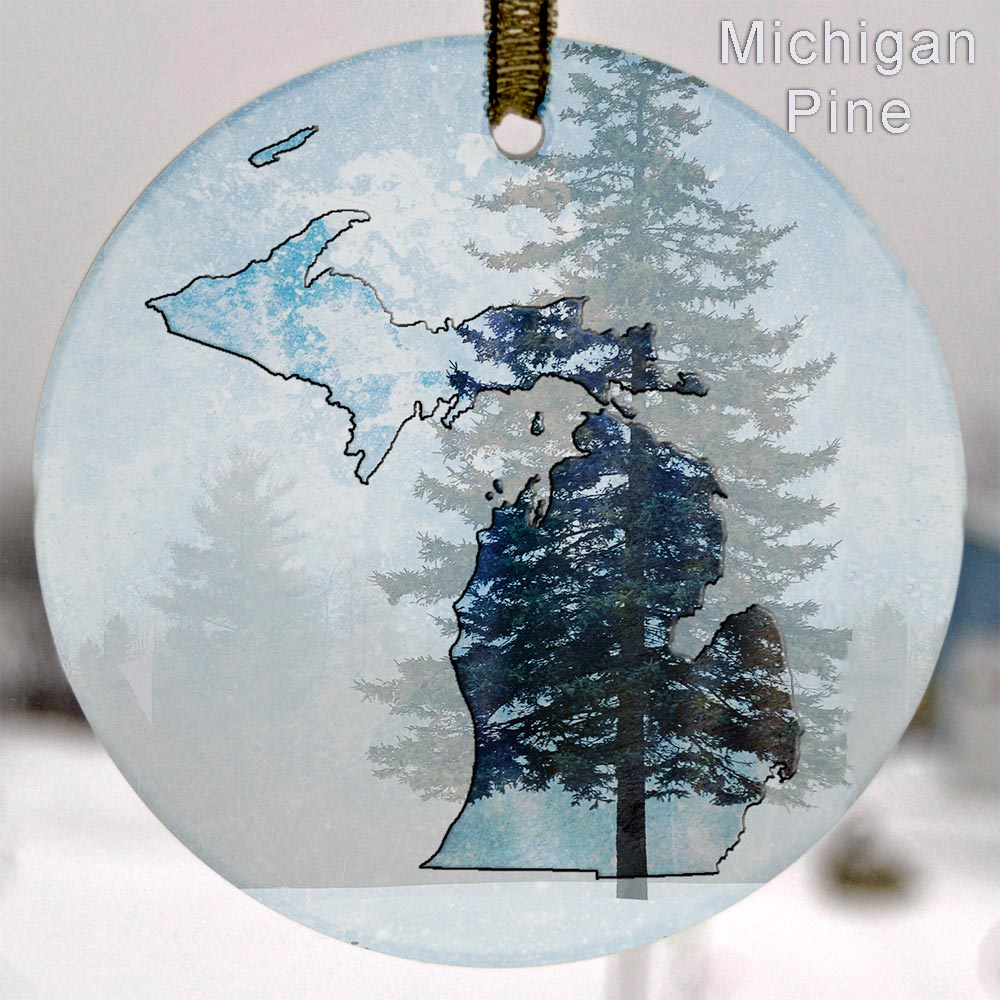 Glass Michigan Suncatcher Ornament Michigan Pine
