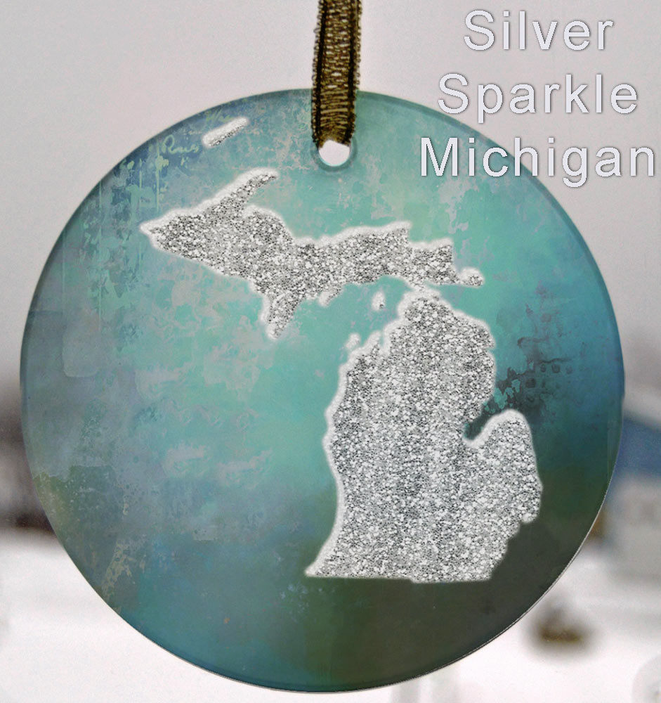 Glass Michigan Suncatcher Ornament Silver Sparkle Michigan