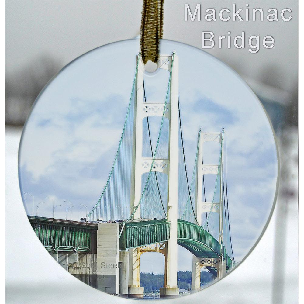 Glass Photo Suncatcher Ornament Mackinac Bridge